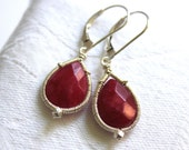 Red Teardrop Earrings- Sterling Silver and Red Jade Drops - Wire Wrapped Gemstone Jewelry