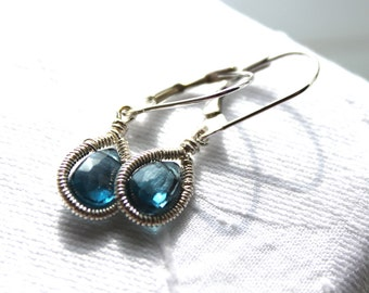 Blue Topaz Dangle Earring's -  Teardrop Earrings - Sterling Silver , December Birthstone