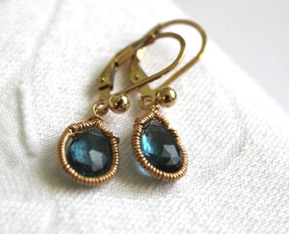 December Birthstone -Blue Topaz Earrings   -Gold Drop Earrings - 14K Gold Fill - Handmade Jewelry