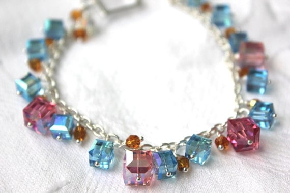 Pastel Crystal Statement  Bracelet -Pink and Blue Chunky Geometric Bracelet - Sparkle and Shine - Sterling Silver Jewelry Made in Canada