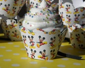 Set of 12 Mickey Mouse Cupcake Wrappers with Ribbon Mouse Tail