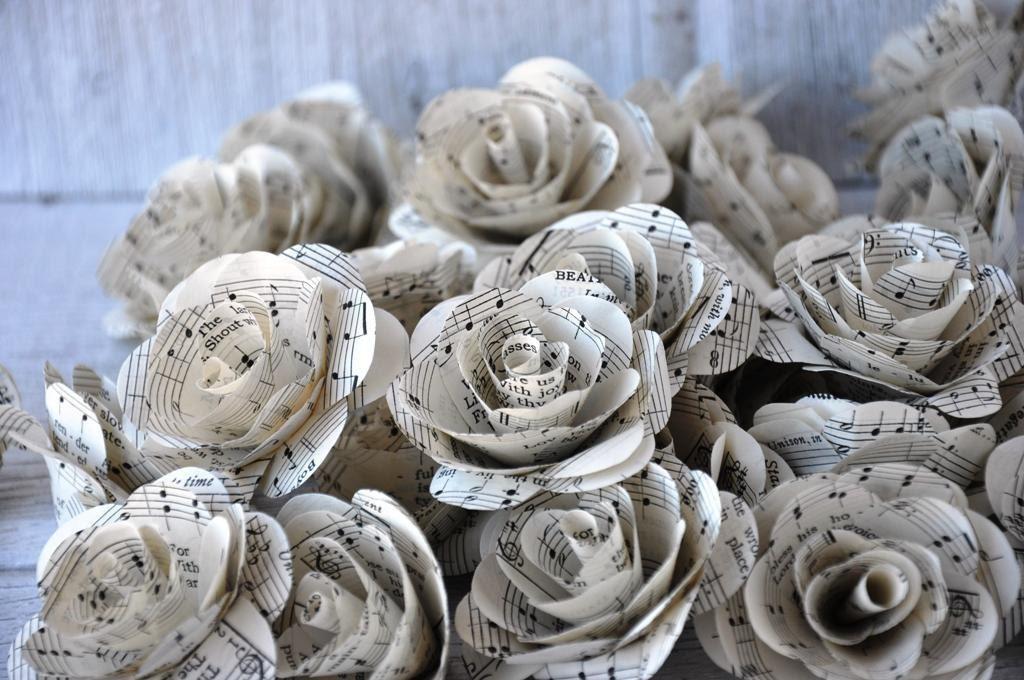 Vintage music sheet paper roses for weddings and by for Paper roses sheet music free