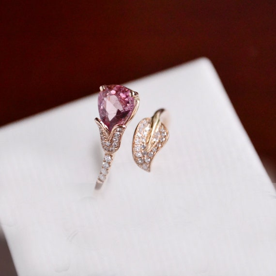Engagement Ring - 1 Carat Pink Tourmaline Ring With Diamonds In 14K Rose Gold