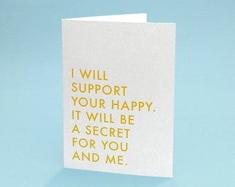 Funny Expecting Card w/ Envelope - 5x7 debossed - Support your Happy