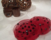 Red stretch mesh with black dots - flower shoe clips