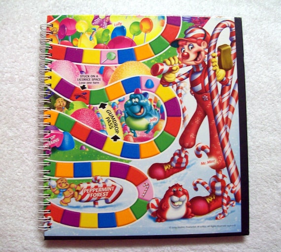 Candy Land Recycled Game Board Notebook Journal