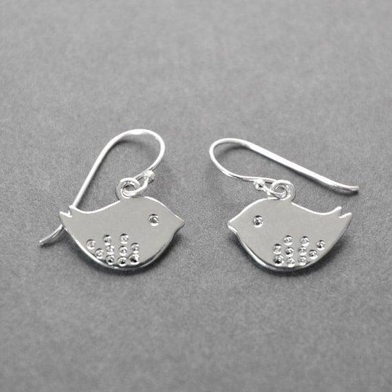 Bird Earrings, Silver Birds, Twitter Bird, Bird Jewelry, Bridesmaid Gift, Bridal Party, Flower Girl Gift, Girls Earrings, Sterling Silver.