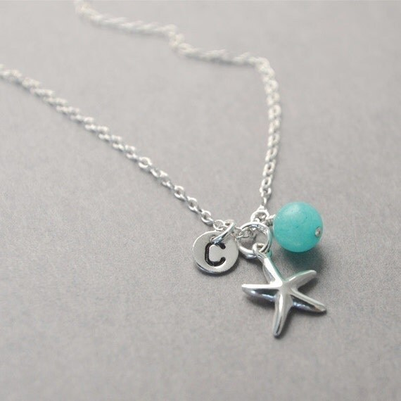 Starfish Necklace, Personalized, Bridesmaids Gift, Beach Wedding, Initial Necklace, Starfish Charm, Mom Necklace, Mothers, Graduation Gift.