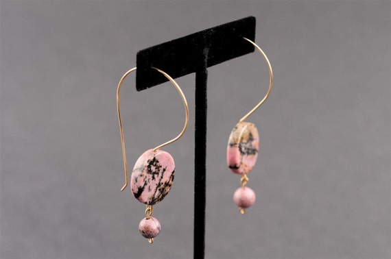 Long Dangle Earrings, Gold Filled Wire, Pink Rhodonite Stone, Disc-Shaped, Casual, Modern Design