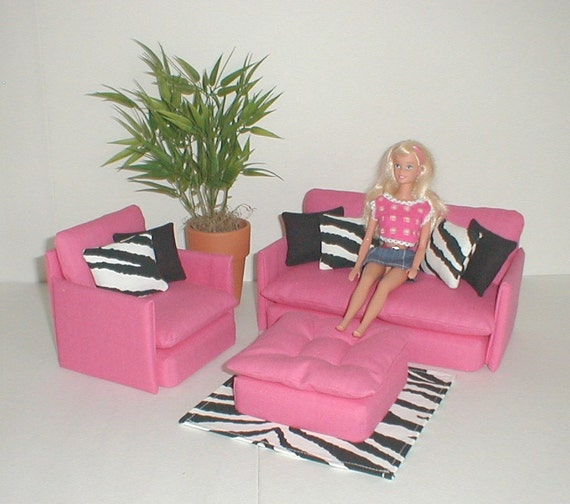 Items similar to barbie furniture living room set pink for Barbie living room furniture set