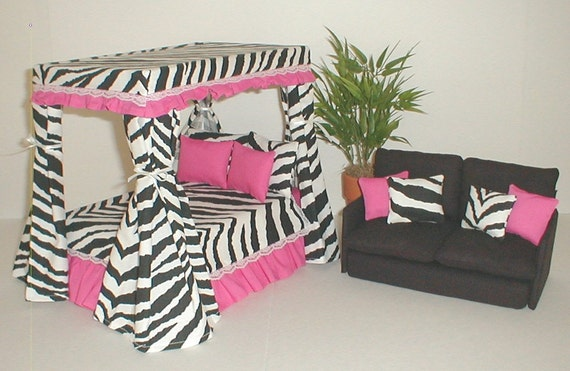 items similar to barbie furniture canopy bed set loveseat hot pink w zebra monster high bratz. Black Bedroom Furniture Sets. Home Design Ideas