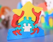 Toy Puzzle Crab. Handmade animal puzzle. Handmade kids toy. Wooden eco friendly handmade toys for kids