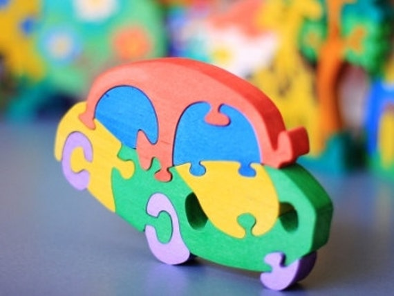 Wooden Car Puzzle, Child's Puzzle, Kid's wood Toys. Wooden toys, wooden animal puzzle. eco-friendly handmade toys, children