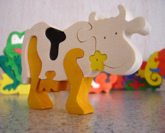 Colorful Wooden Puzzle COW with flower. Handmade puzzle game that develops motor skills - Ready to Ship
