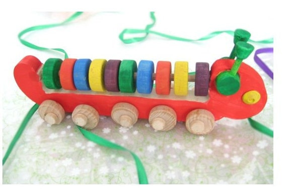 Wooden Toy Caterpillar-Abacus. Handmade eco friendly wooden toys - Ready to Ship