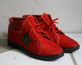 "80s sneakers red size US 9 UK 6,5 ""Absic Wear"" Athletic Shoe Womens Low Shoe Velour Bootie Ankle Wedge Boots"
