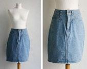 Vintage Skirt High Waisted Denim 80s Acid Wash Blue Jeans Skirt