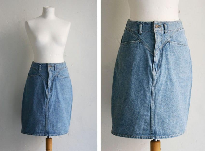 vintage skirt high waisted denim 80s acid by