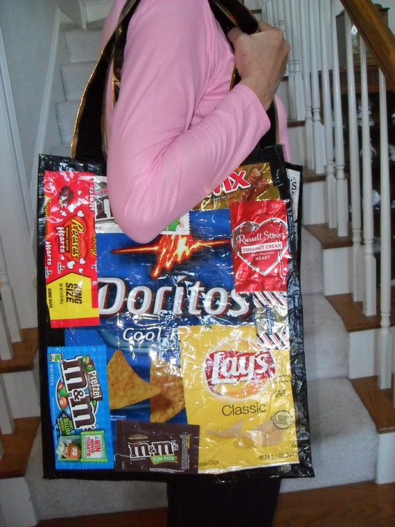 Large upcycled duct tape tote chip bags and candy wrapper