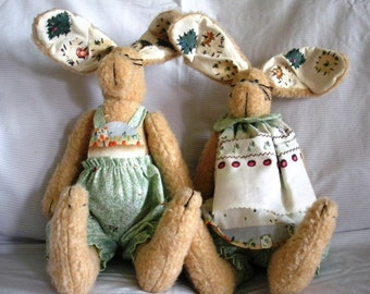 Country Bunny Couple / Stuffed Animal / Plush Toy / Rabbit