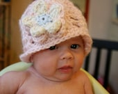 Summer baby girl hat - Vintage Cloche hat with large flower - 3 - 6 months