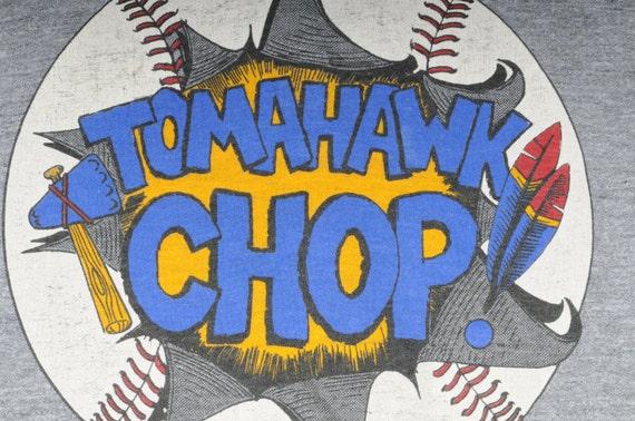"""Gray Atlanta Braves """"Tomahawk Chop"""" Tshirt"""