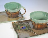 Deep Orange and Green Soup Mugs and Plates - Set of 2 Mugs and 2 Plates