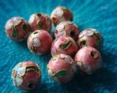 Pink Cloisonné Beads