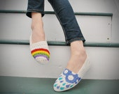 Hand Painted Flats - Hope - Rainbow, rain cloud, and raindrops - size 10 shoes