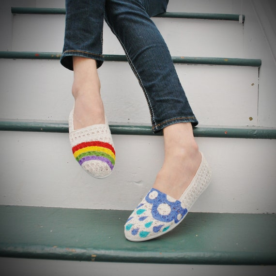 Hand Painted Flats - Hope - Rainbow, rain cloud, and raindrops - size 7 shoes