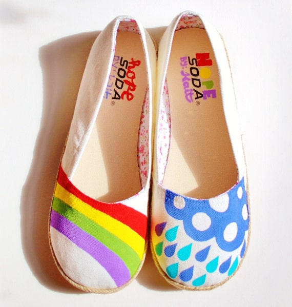 Hand Painted Flats - Hope - Rainbow, rain cloud, and raindrops - size 9 shoes