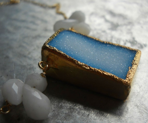 Druzy and blue topaz necklace, 18k gold dipped