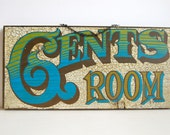 Vintage Gents Room Sign Green and Blue
