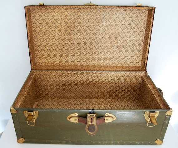 Reserved for Andrea - Vintage Steam Trunk Travel Trunk