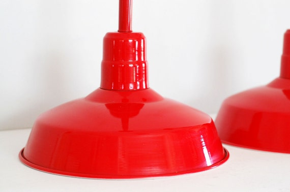 RESERVED - SALE - Vintage Industrial Warehouse Light Candy Red Pendant Lamp
