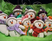 Made to Order Handmade Sculpey Clay Snowman Ornament (1)