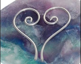 Long Spiral Silver Tribal Earrings