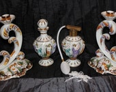 Antique Perfume Bottles and Candlesticks Naked Nymphs Alcobaca Porcelain