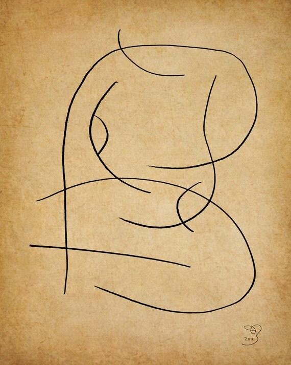 Squat, A Gestural Drawing.