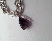 "Silver ""Penny"" Bracelet, Amethyst & Feather Charm"