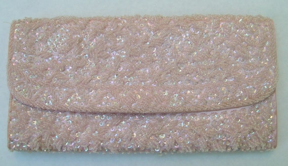 Vintage Pink Beaded Clutch by Mantessa, Hand Made in Hong Kong