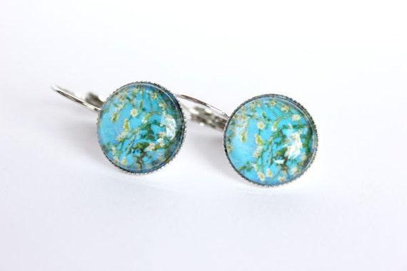 Van Gogh cherry blossoms art print silver resin earrings