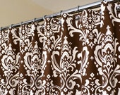"""Brown Shower Curtain in Off-White and Brown Damask Pattern sized 72"""" x 72"""" (curtain hooks sold separately)"""