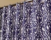 "Oriental Pattern Shower Curtain in Indigo Blue & White sized 72"" x 72"" (curtain hooks sold separately)"