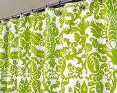 """Shower Curtain in Green and White Pattern, Green Shower Curtain, sized 72"""" x 72"""" (curtain hooks sold separately)"""