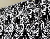 """Shower Curtain in Black & White Damask Pattern sized 72"""" x 72"""" (curtain hooks sold separately)"""