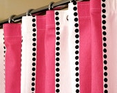 """Pink Shower Curtain With Candy Pink & White Stripes and Cascading Black Dots sized 72"""" x 72"""" (curtain hooks sold separately)"""