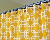 """Yellow Shower Curtain, Classic Pattern of White Interlaced Squares on Corn Yellow Backdrop sized 72"""" x 72"""" (curtain hooks sold separately)"""