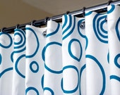 """Shower Curtain White and Turquoise Bubble and Circle Pattern sized 72"""" x 72"""" Fabric 100% Cotton (curtain hooks sold separately)"""