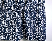 Valance with Oriental Pattern in Indigo Blue & White (curtain rod not included)